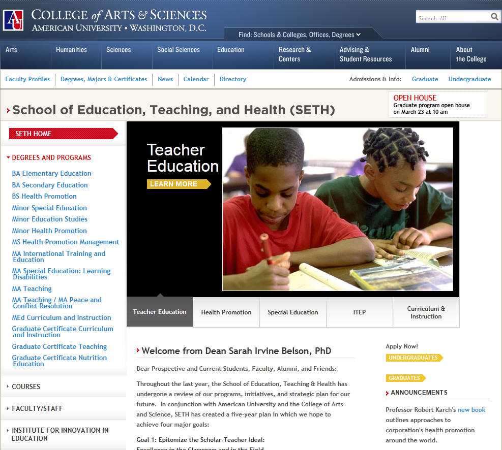 American University School of Education Teaching and Health