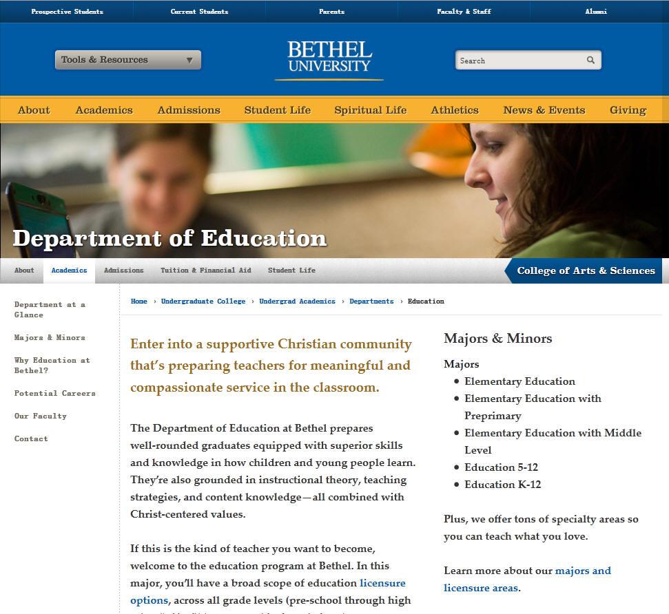 Bethel University Education Department