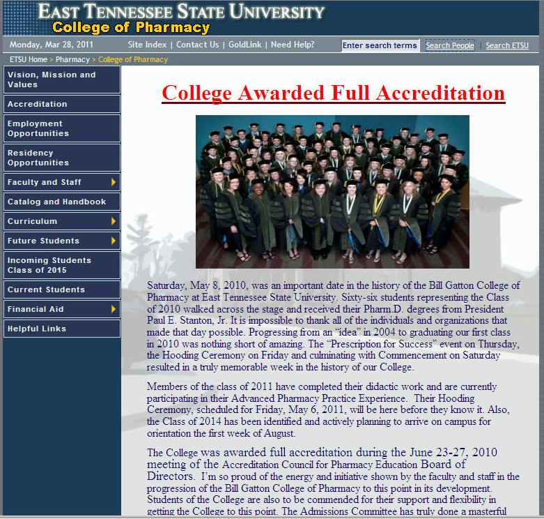 East Tennessee State University Bill Gatton College of Pharmacy