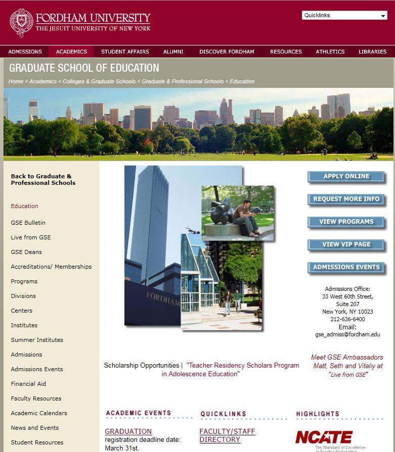 Fordham University Graduate School of Education