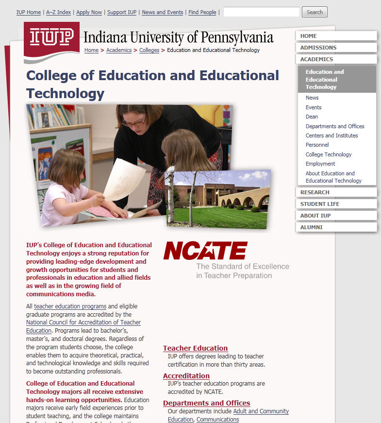 Indiana University of Pennsylvania College of Education and Educational Technology