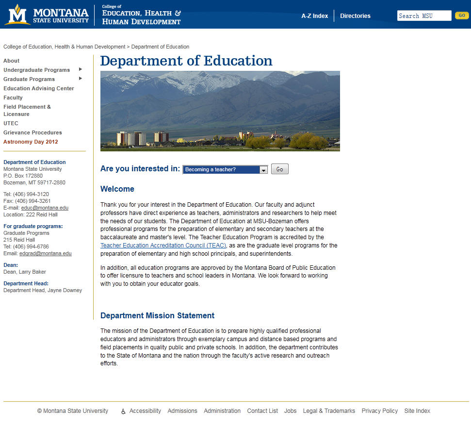 Montana State University Department of Education