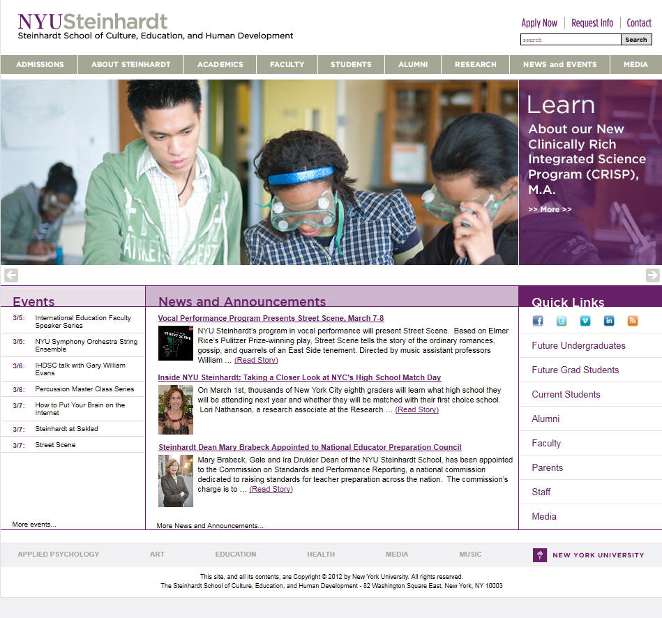 New York University Steinhardt School of Culture Education and Human Development