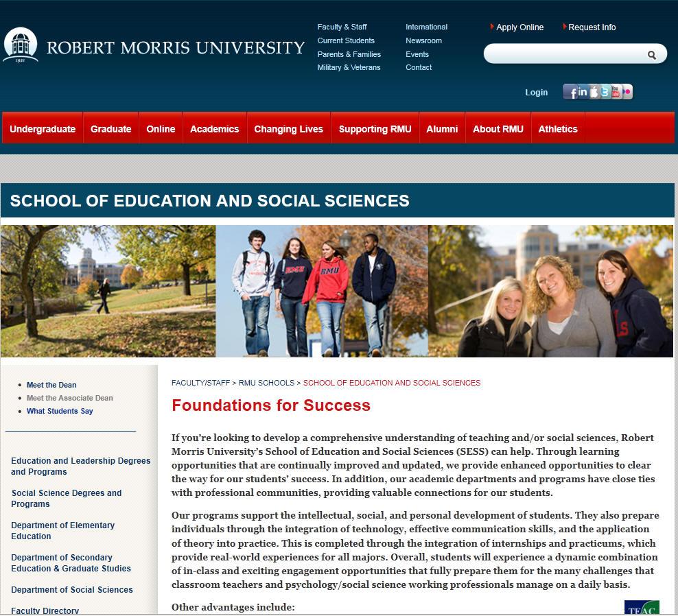Robert Morris University School of Education and Social Sciences