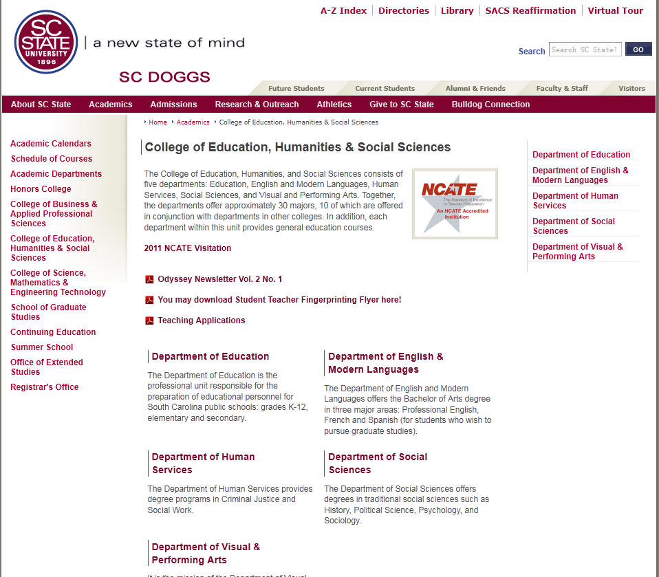 South Carolina State University College of Education Humanities Social Sciences