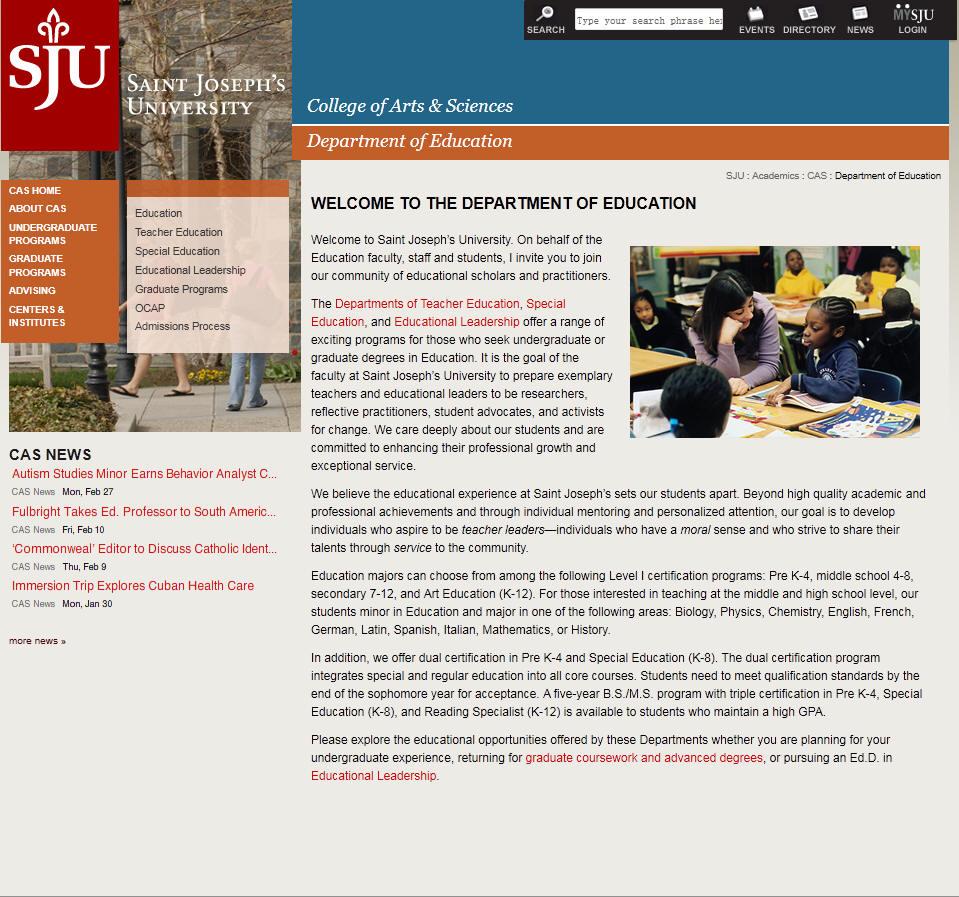 St Josephs University Department of Education
