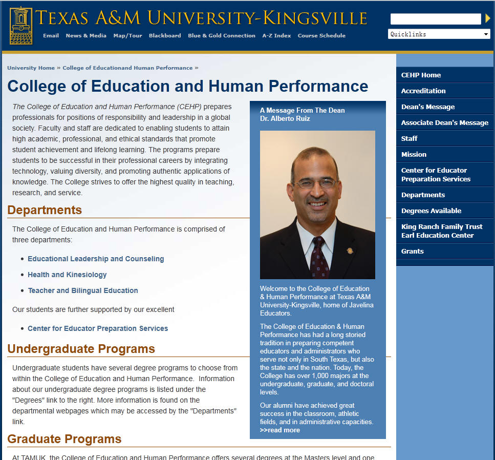 Texas AM University Kingsville College of Education and Human Performance