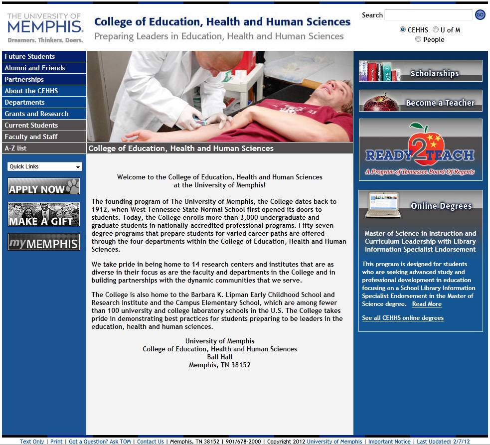 University of Memphis College of Education Health and Human Sciences