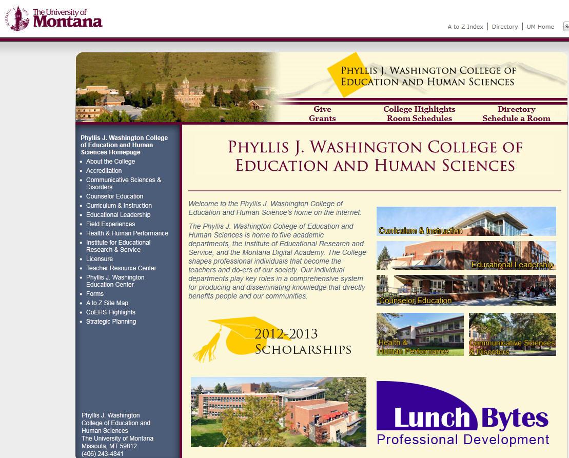 University of Montana Phyllis J Washington College of Education and Human Sciences