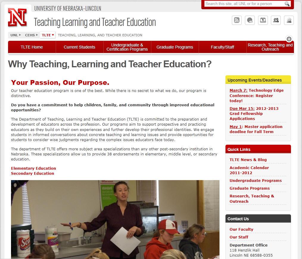 University of Nebraska Lincoln Education Department