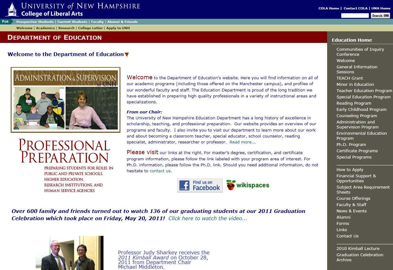 University of New Hampshire Department of Education