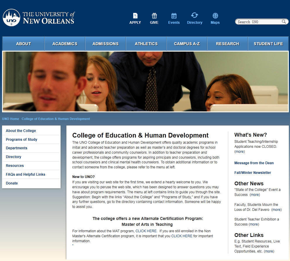 University of New Orleans College of Education Human Development