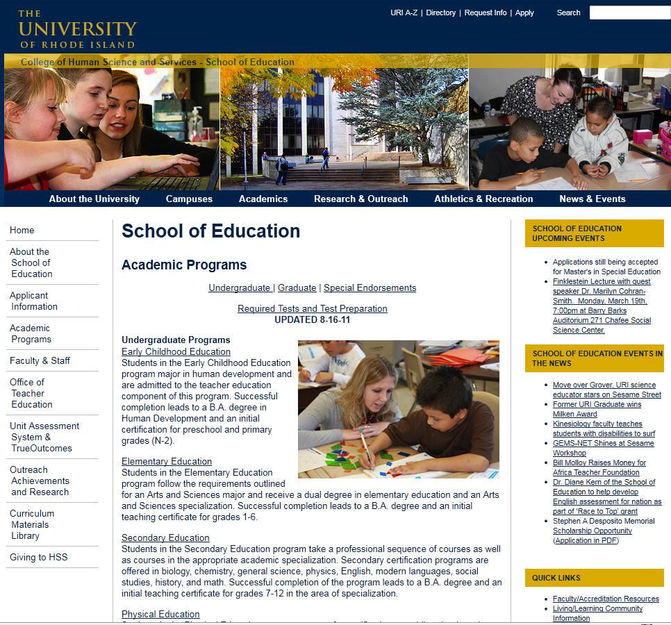 University of Rhode Island Rhode Island College School of Education