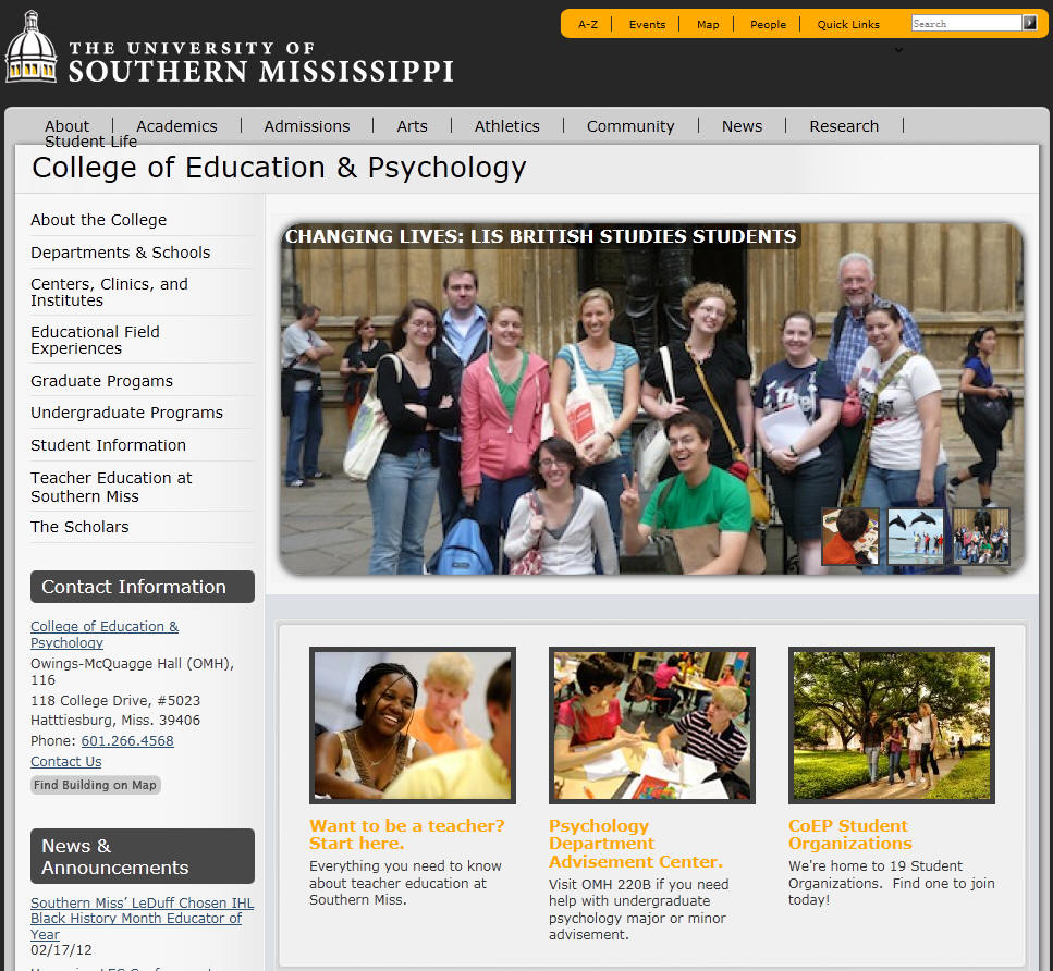 University of Southern Mississippi College of Education Psychology