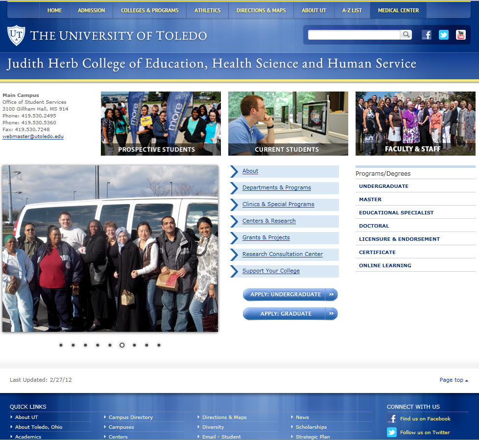University of Toledo Judith Herb College of Education Health Science and Human Service